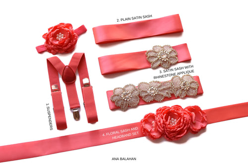 Coral set of wedding accessories groomsmen suspenders page boy bow ties bridesmaids sash flower girl headpiece