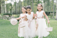 Load image into Gallery viewer, Flower girls in Ana Balahan dresses wearing high quality satin sashes