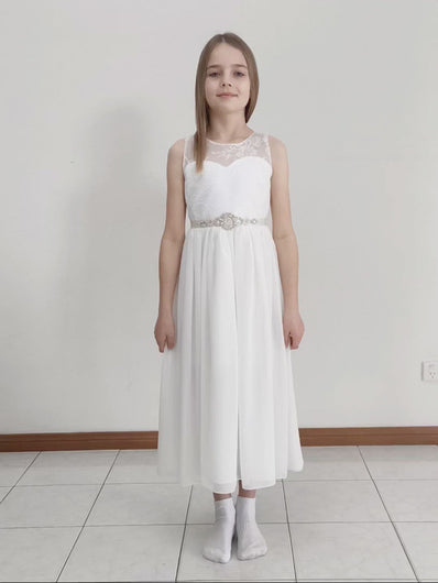 Video of Roselle - tween midi length lace flower girl dress with V-neck in bridal ivory color Ana Balahan