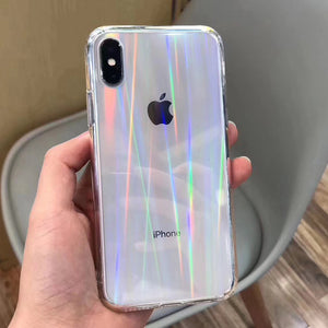 Gradient Rainbow Clear Phone Case for iPhone X XS Max Xr 8 7 6 6S Plus Acrylic Hard Transparent Case