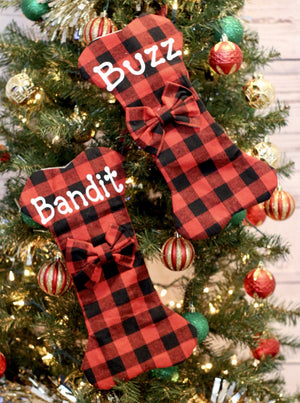 Dog Stocking - Red Buffalo Plaid