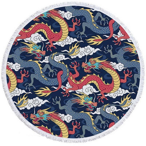 Serviette dragon <br> de chine (rond)