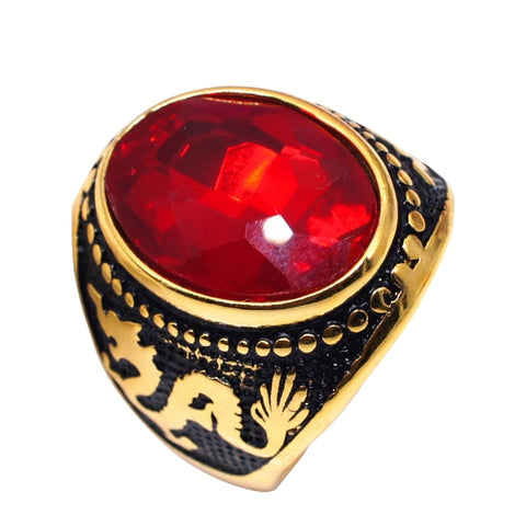Bague Dragon chinois pierre rouge