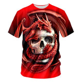 T-shirt dragon <br> rouges entourant le crâne