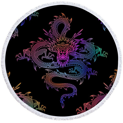 Serviette dragon <br> de chine muticolor (rond)