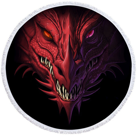 Serviette dragon <br> rouge double face (rond)