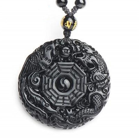 Collier Dragon <br> Obsidienne Protecteur