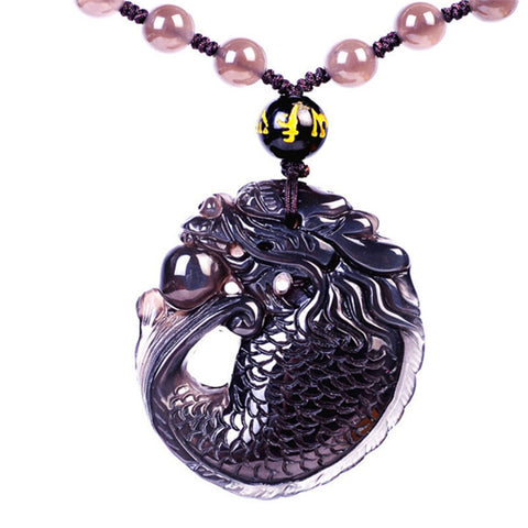 Collier Dragon <br> Obsidienne Japonnaise