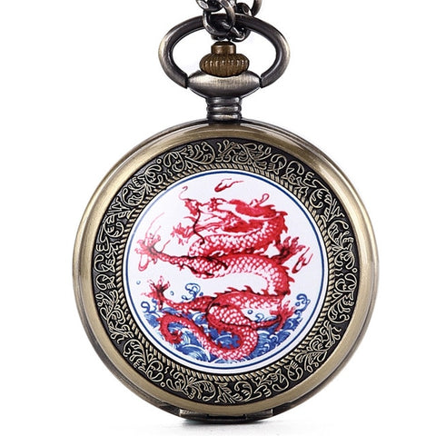 Montre Gousset dragon <br> Rouge de l'Apocalypse (Quartz)