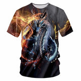 T-shirt dragon <br> bleu étincelle