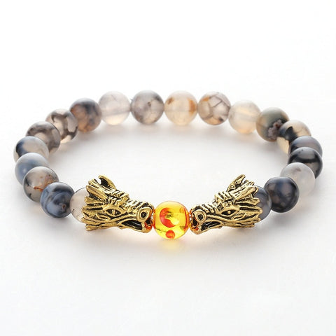 Bracelet dragon <br> à 2 têtes pierre de dragon