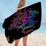 Serviette de bain dragon <br> de chine multicolors