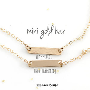Mini Gold Bar Necklace (smooth or hammered)