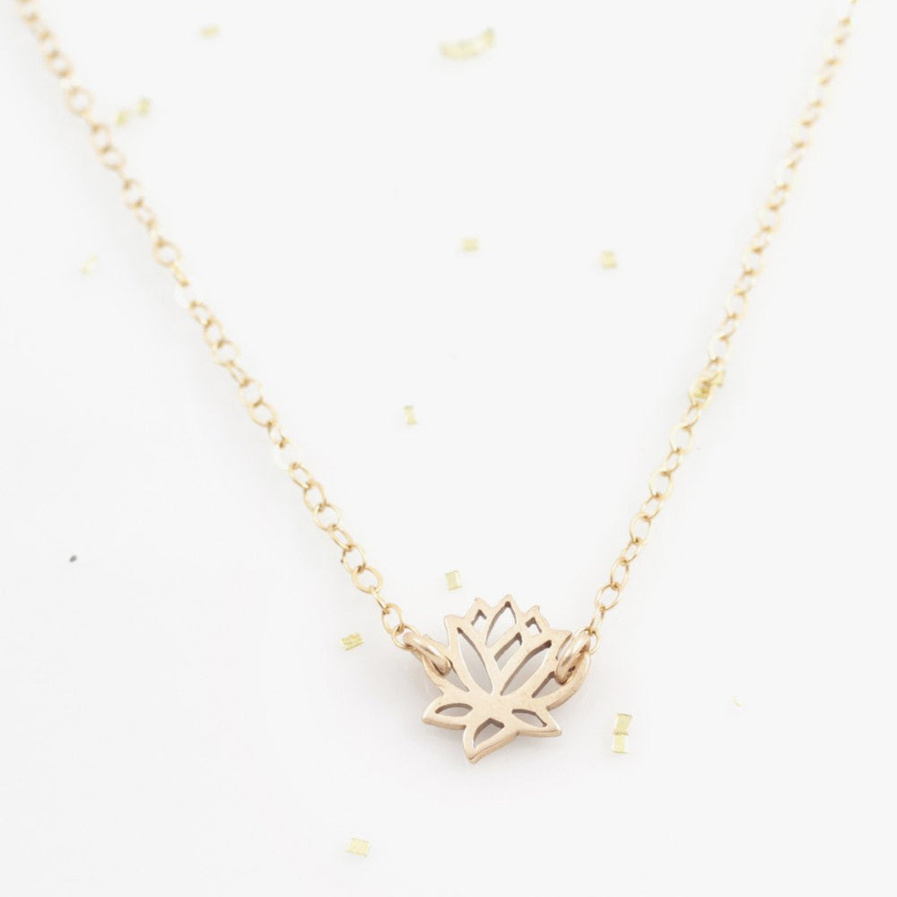 Tiny Lotus Good Vibes Necklace