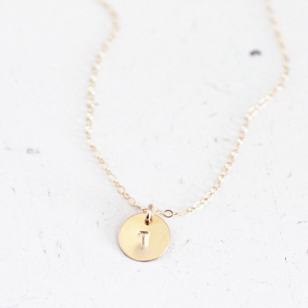 Delicate Initial Circle Necklace