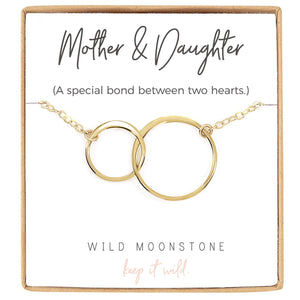 Mother and Daughter Interlocking Circle Necklace