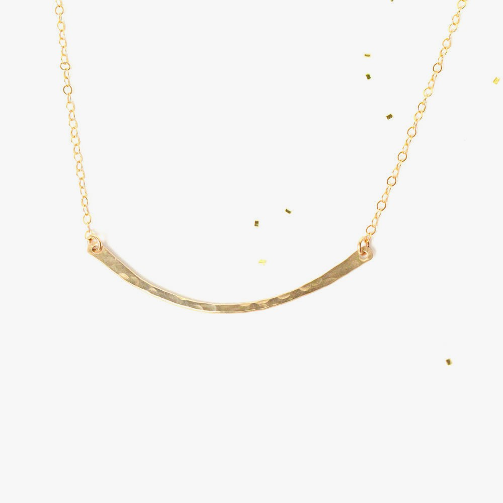 Hammered Gold Arc Necklace