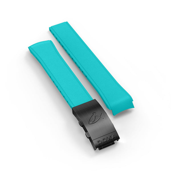 Rubber strap with folding clasp, Turquoise