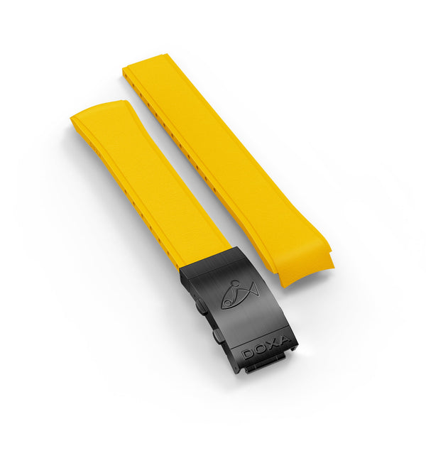 Rubber strap with folding clasp, Yellow