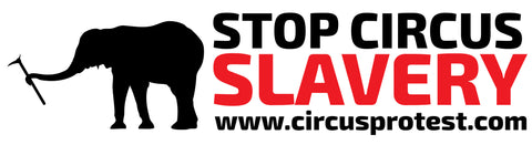 "3 X 10 ""Stop Supporting Circus Slavery"" Bumper Stickers"