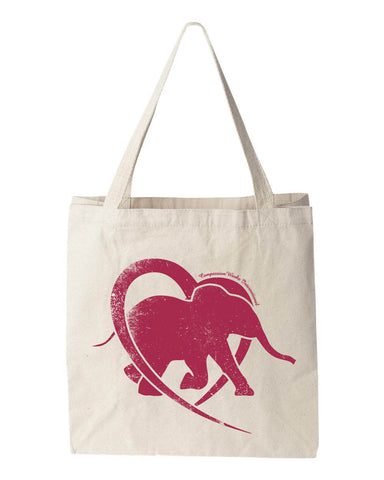 Hearts and Elephants Tote Bag in Dark Pink