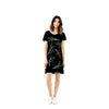 T shirt Dress / Thorn Print / Silver on Black