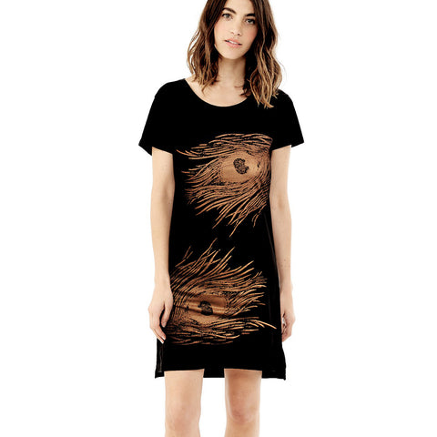 T shirt Dress / Peacock Double / Copper on Black