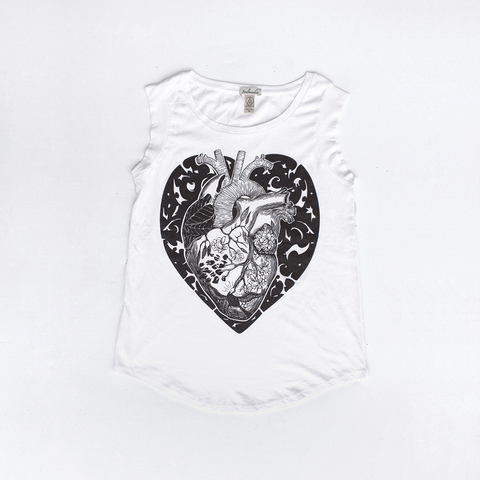 Cap Sleeve T shirt / Anatomy of a Heart