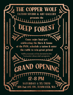 Copper Wolf Deep Forest Art Show, January 25, 2020