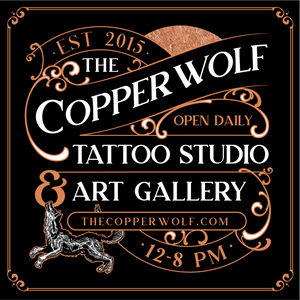 The Copper Wolf Tattoo Studio & Art Gallery, Tumwater Washington Open Daily 12-8 PM