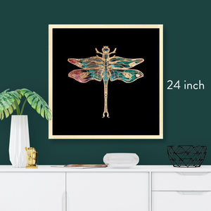 24 inch square framed gold foil dragonfly art print, natural maple wood