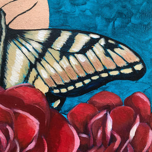 Butterfly Garden Original acrylic painting by Aimee Schreiber copper paint, red roses, yellow swallowtail