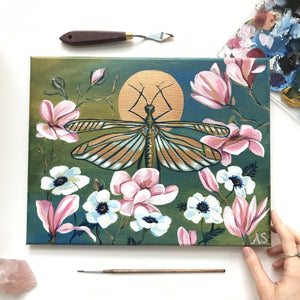 copper insect garden original painting by Aimee Schreiber, acrylic on canvas 11x14 magnolia grasshopper anenome flowers