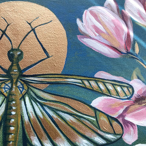 copper insect garden original painting by Aimee Schreiber, acrylic on canvas 11x14 magnolia grasshopper anenome flowers detail