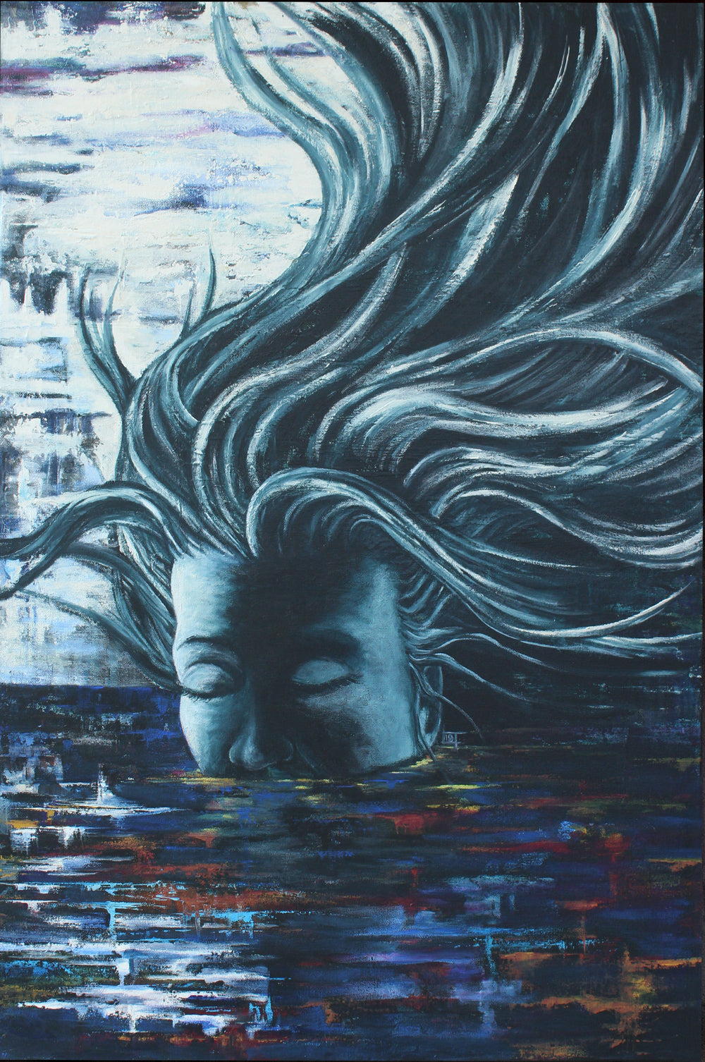 Submerged By Linda Torres original acrylic painting on canvas blue woman figurative art