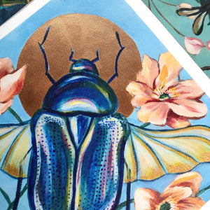"""Scarab Beetle"" Embellished Fine Art Print on Canvas, 12x12"