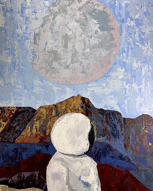 Social Distancing Original astronaut space landscape acrylic painting by Danny Schreiber, textured painting