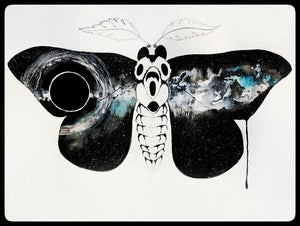 Entropy original watercolor painting by Becca Bastian watercolor ink space moth galaxy