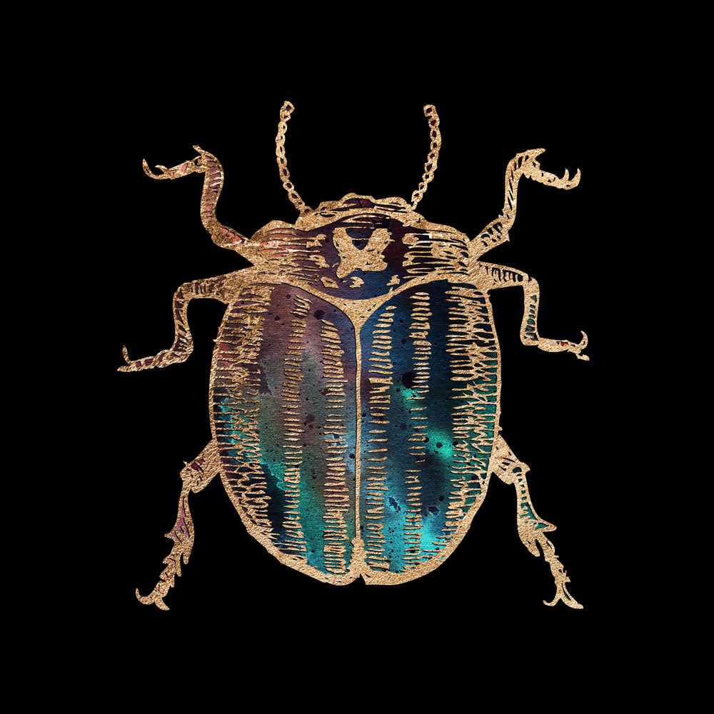 Gold Foil Galactic Potato Beetle Fine Art Print by Aimee Schreiber, galaxy gold leaf ink