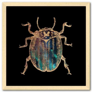 16 inch square Gold Foil Galactic potato Beetle Fine Art Print by Aimee Schreiber, galaxy gold leaf ink with natural maple wood frame