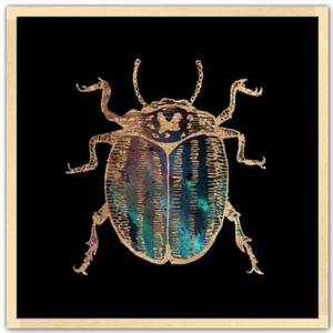 24 inch square Gold Foil Galactic potato Beetle Fine Art Print by Aimee Schreiber, galaxy gold leaf ink with natural maple wood frame