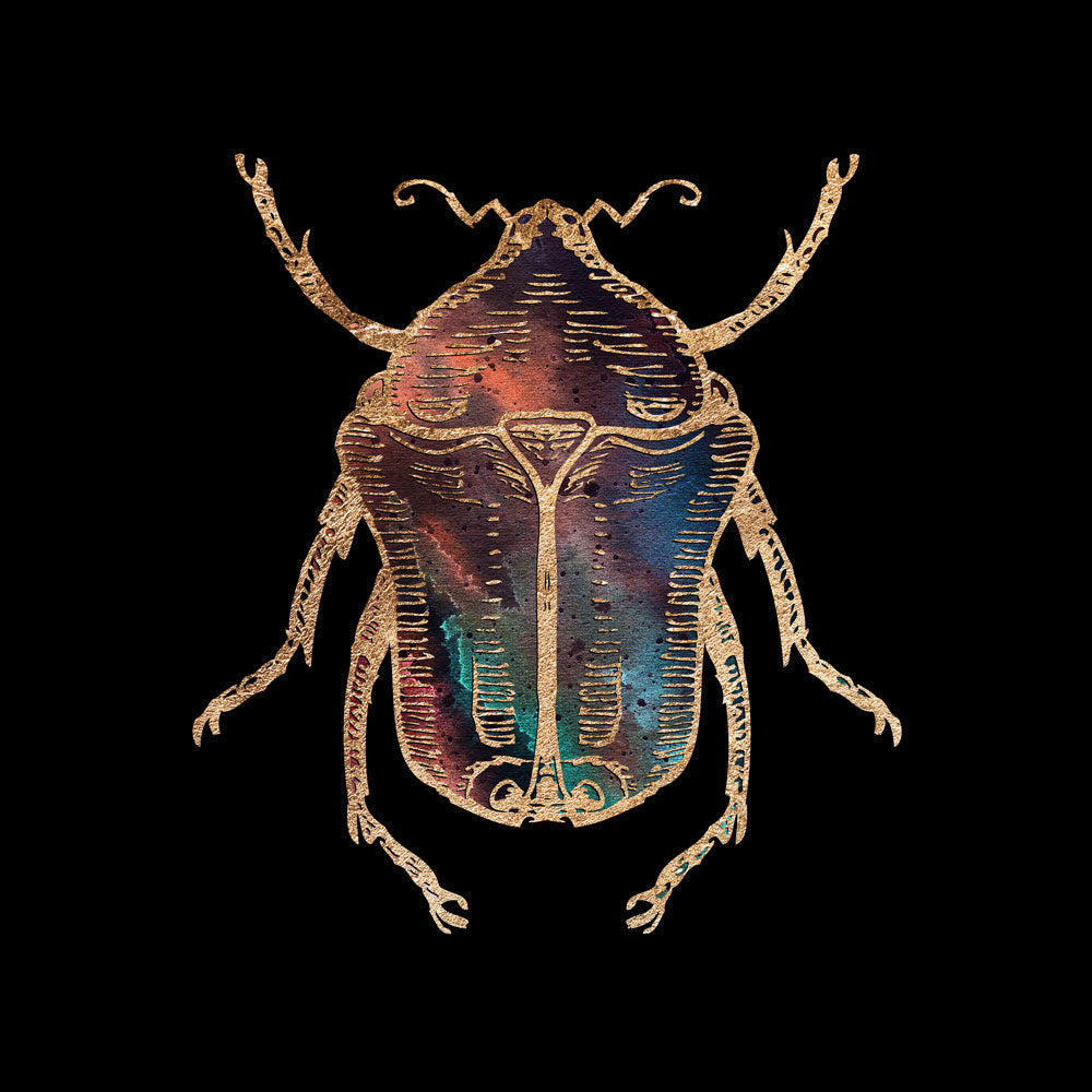 Gold Foil Galactic June Beetle Fine Art Print by Aimee Schreiber, galaxy gold leaf ink