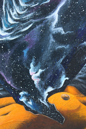 Detail of Birth by Linda Torres original acrylic painting woman space galaxy