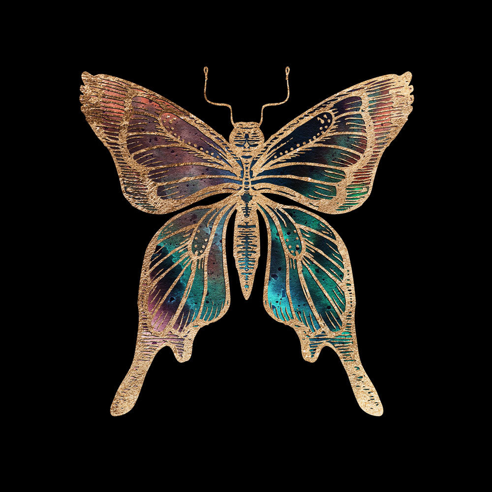 Gold Foil Galactic Butterfly Fine Art Print by Aimee Schreiber, galaxy gold leaf ink