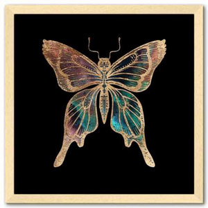 16 inch square Gold Foil Galactic Butterfly Fine Art Print by Aimee Schreiber, galaxy gold leaf ink with natural maple wood frame