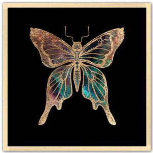 24 inch square Gold Foil Galactic Butterfly Fine Art Print by Aimee Schreiber, galaxy gold leaf ink with natural maple wood frame