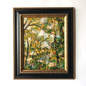 Fall forest nature painting on white wall by Aimee Schreiber