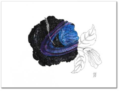 Cosmo-sinensis original watercolor painting by Becca Bastian watercolor ink space saturn flower galaxy