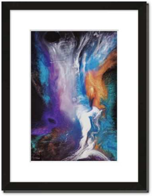 8 x 12 inch A Space Odyssey Print by Divina Clark with white mat and black wood frame