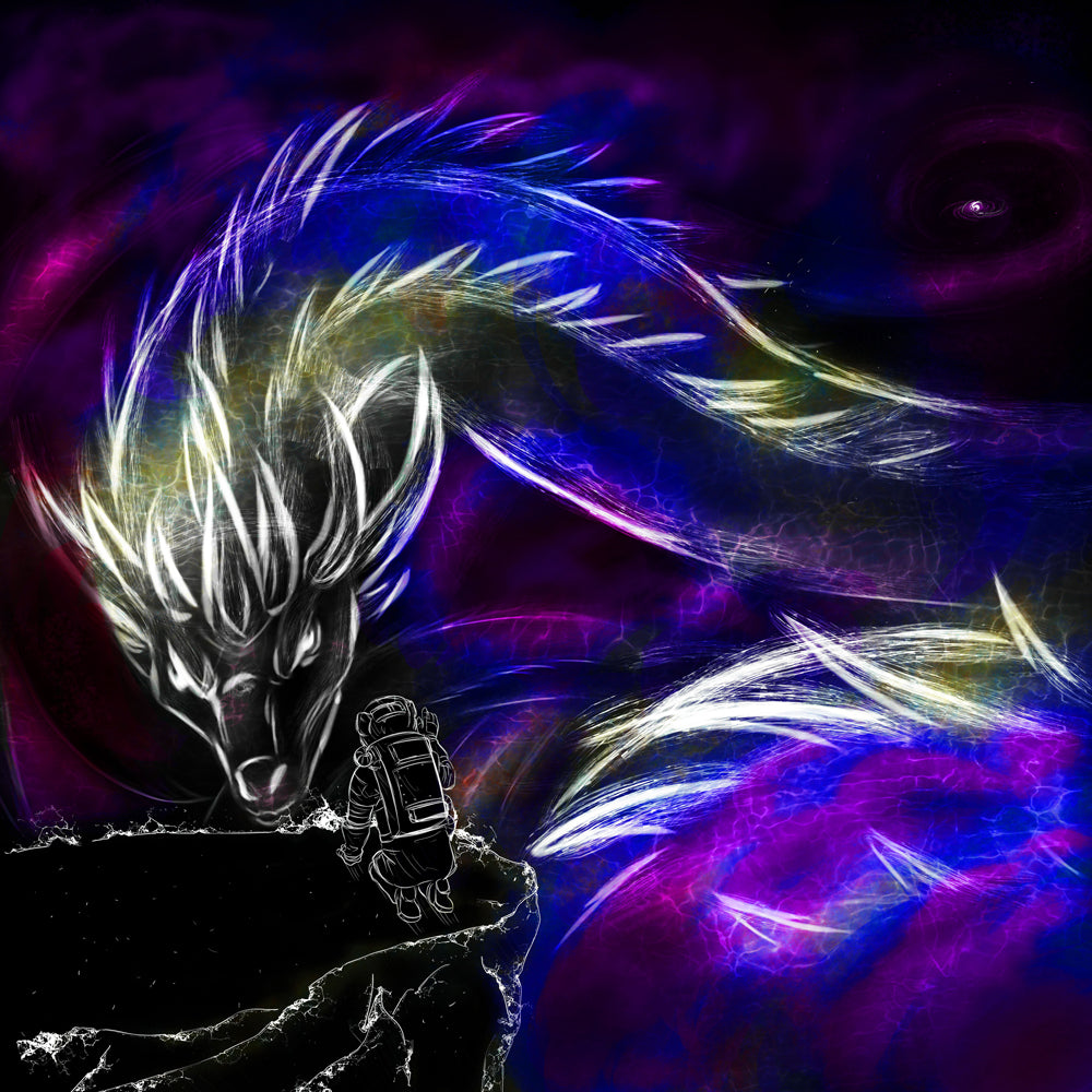 Dragon in Space Digital Artwork by Katherine Rizzo